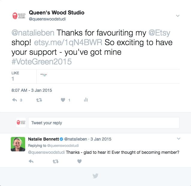 Twitter conversation with Natalie Bennett before the 2015 General Election