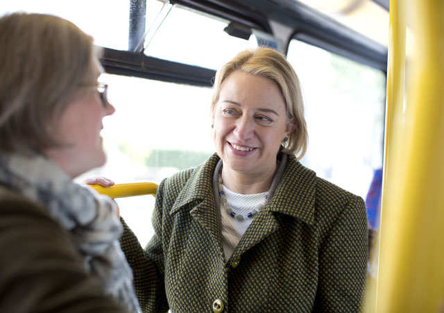 Natalie Bennett wears her Queen's Wood Studio necklace during the 2015 General Election campaign. Photo credit Rex Shutterstock
